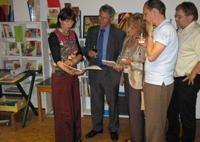 Besuch des ehemaligen Vize-Bürgermeister Dr. Eugen Sprenger und Führung durch das Atelier Hilde Chistè, Aufnahme: © Josef Chistè