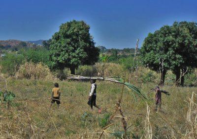 Kinder in Sambia tragen Zuckerrohr nach Hause, Aufnahme: © Hilde Chistè