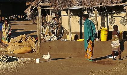 Alltagsszene in einem Dorf in Sambia - Menschen und Tiere vor einem bemaltem Lehmhaus, Aufnahme: © Hilde Chistè