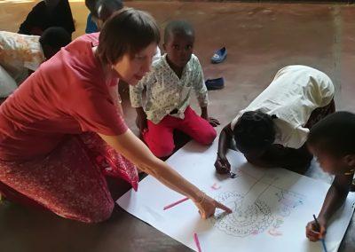 Workshop gemeinsam mit Hilde Chistè und den Kindern aus Chama, Aufnahme: © Aldo Sierra