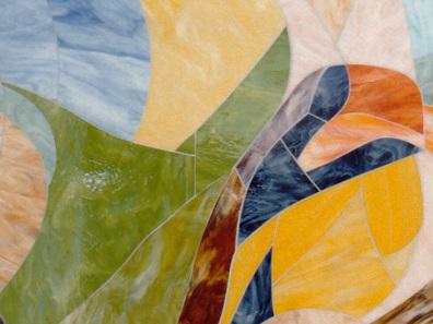 Glaswandgestaltung im Aufbahrungsraum der Privatklinik Hochrum