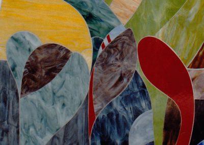 Detail III der Glaswandgestaltung im Aufbahrungsraum der Privatklinik Hochrum - Opaqueglas © Gestaltung Hilde Chistè © Aufnahme Lackner