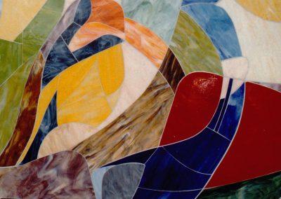 Detail IV der Glaswandgestaltung im Aufbahrungsraum der Privatklinik Hochrum - Opaqueglas © Gestaltung Hilde Chistè © Aufnahme Lackner