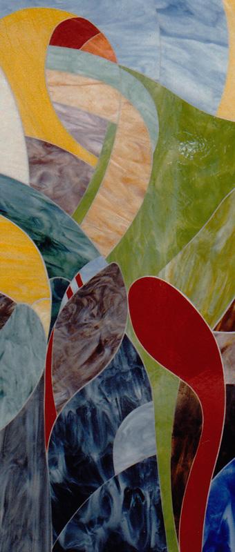 Detail V der Glaswandgestaltung im Aufbahrungsraum der Privatklinik Hochrum - Opaqueglas © Gestaltung Hilde Chistè © Aufnahme Lackner