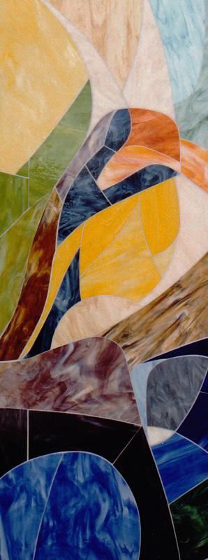 Detail VI der Glaswandgestaltung im Aufbahrungsraum der Privatklinik Hochrum - Opaqueglas © Gestaltung Hilde Chistè © Aufnahme Lackner