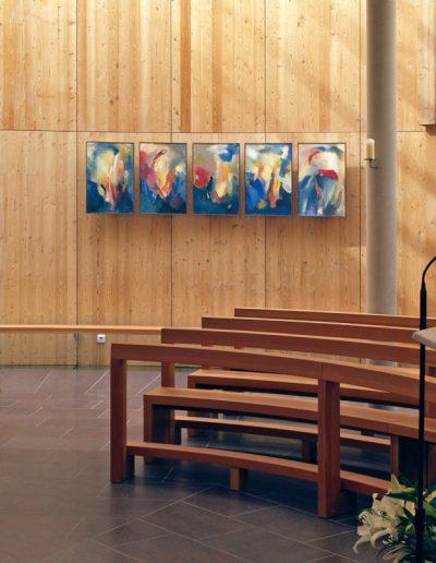 """Pfarre Mariä Heimsuchung in Innsbruck mit der Bilderreihe """"Der Geist des Herrn""""  © Gestaltung Hilde Chistè © Aufnahme Clemens Jud"""