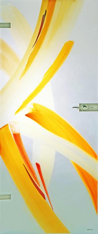 Ganzglastüre - Malerei mit keramischen Schmelzfarben © Gestaltung Hilde Chistè © Aufnahme Galsmalerei Peters