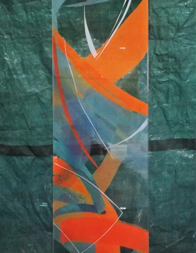 Glasstele mit freier Sandstrahlung - Tagansicht © Hilde Chistè