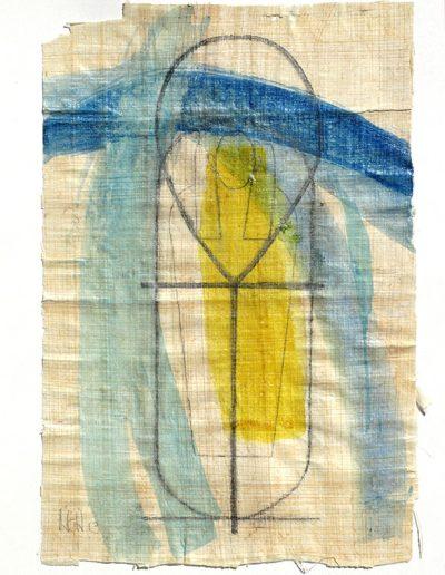 Von Göttern und Königen II - Mischtechnik auf Papyrus © Hilde Chistè