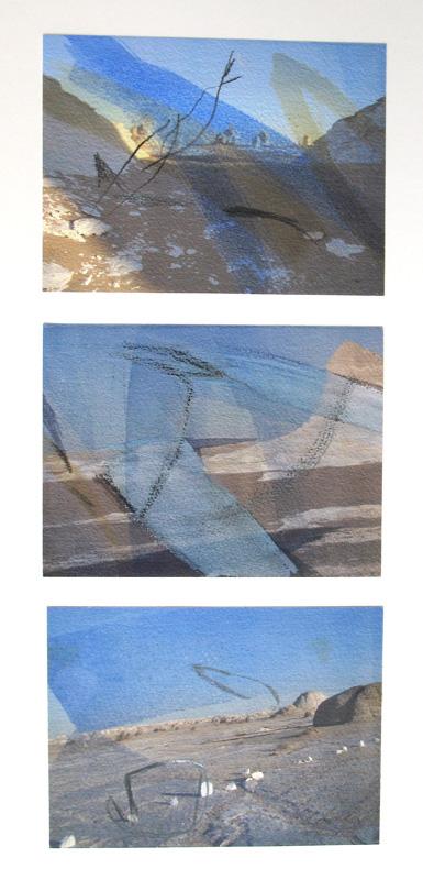 Weiße Wüste - Stein und Wind I - Mischtechnik auf Papier © Hilde Chistè