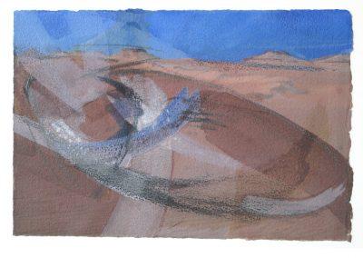 Sahara – Bewegtheit der Sande I -Mischtechnik auf Papier © Hilde Chistè