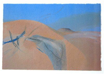 Sahara – Bewegtheit der Sande II - Mischtechnik auf Papier © Hilde Chistè