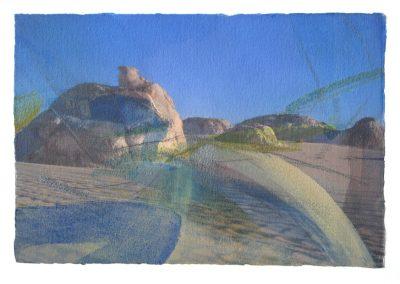 Weiße Wüste – ins_Licht getaucht I - Mischtechnik auf Papier © Hilde Chistè
