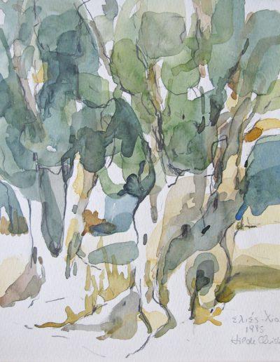 6 Olivenbäume-Aquarell © Hilde Chistè